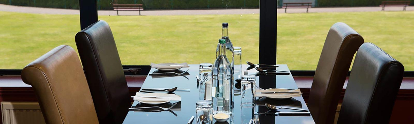 Table in the Seasons Restaurant at Southwell Racecourse.