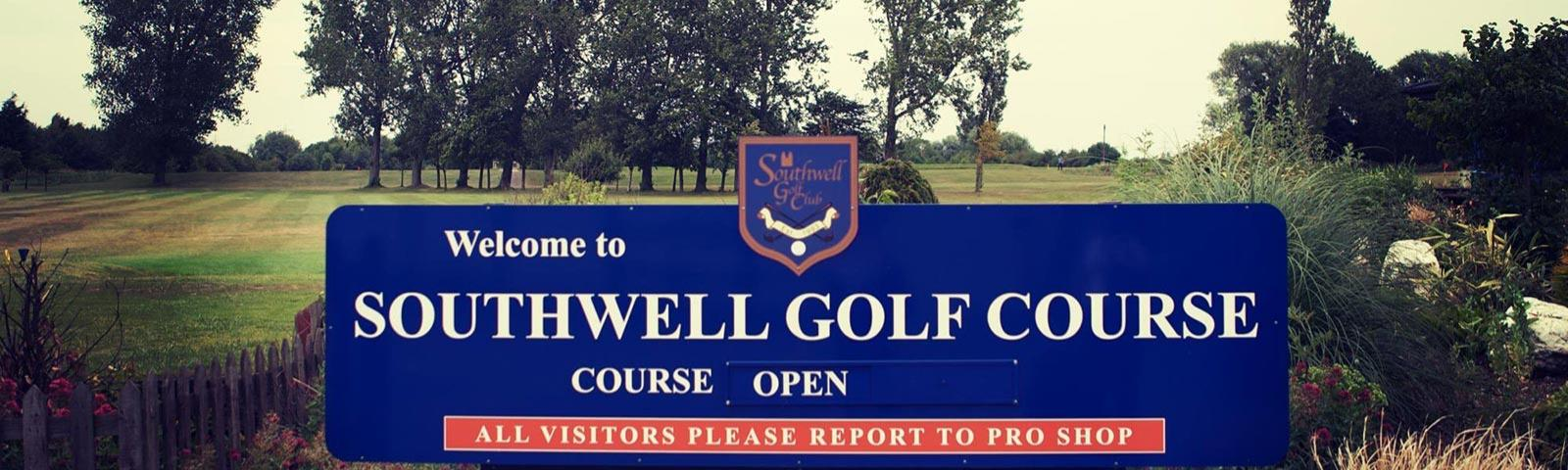 Signage featuring the Southwell Golf Course logo.
