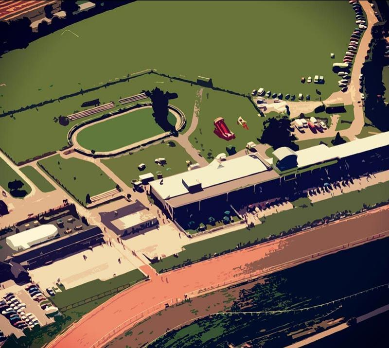 Aerial view above the grandstand at Southwell Racecourse