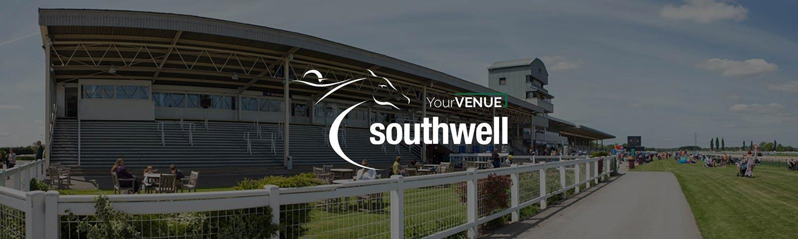 Image showing the YourVENUE and Southwell Racecourse logos over a picture of the course grandstand on a lovely summers day.