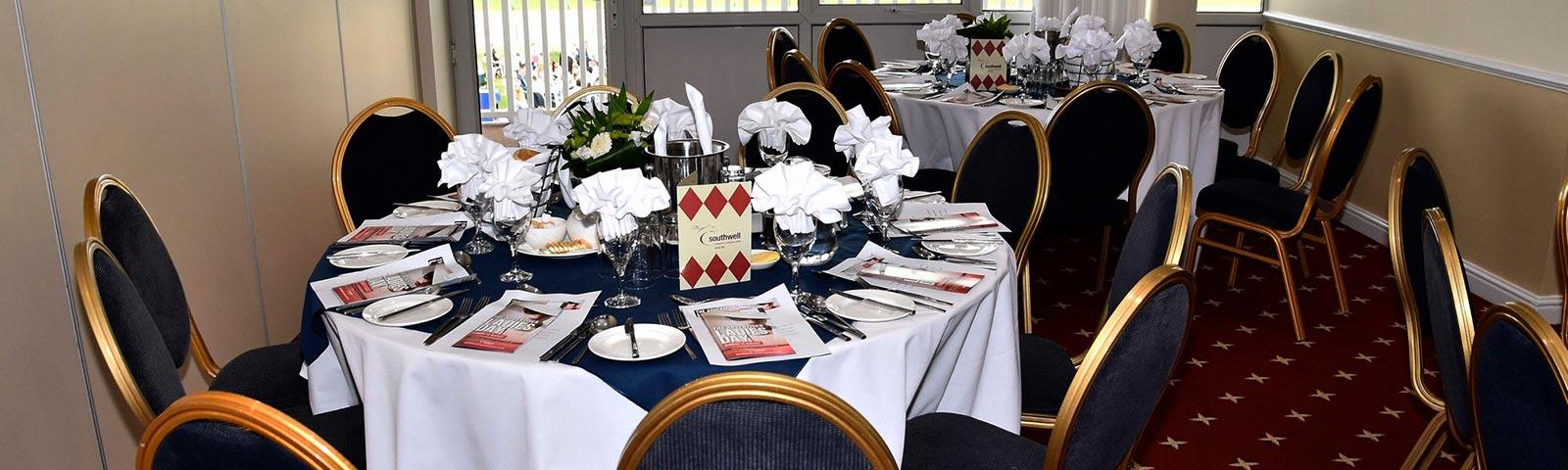 Dining table dressed ready to welcome guests at Southwell Racecourse